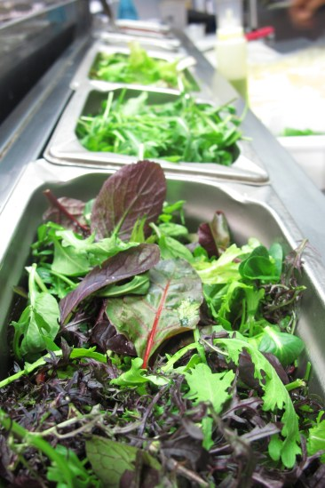 Bright, colourful salad leaves