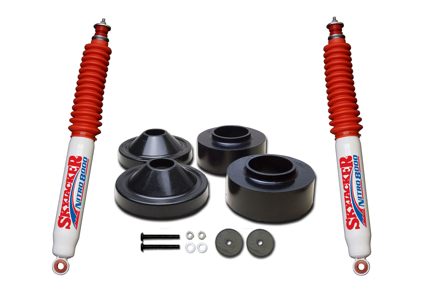 hight resolution of jk23 n 2 in front 3 4 in rear polyurethane spacer leveling kit with nitro 8000 shocks