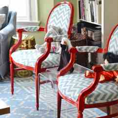 Diy Reupholster Living Room Chair Small Condo Furniture Ideas Upholstered Armchairs In Red And Chevron How To Old With Colorful New Fabric