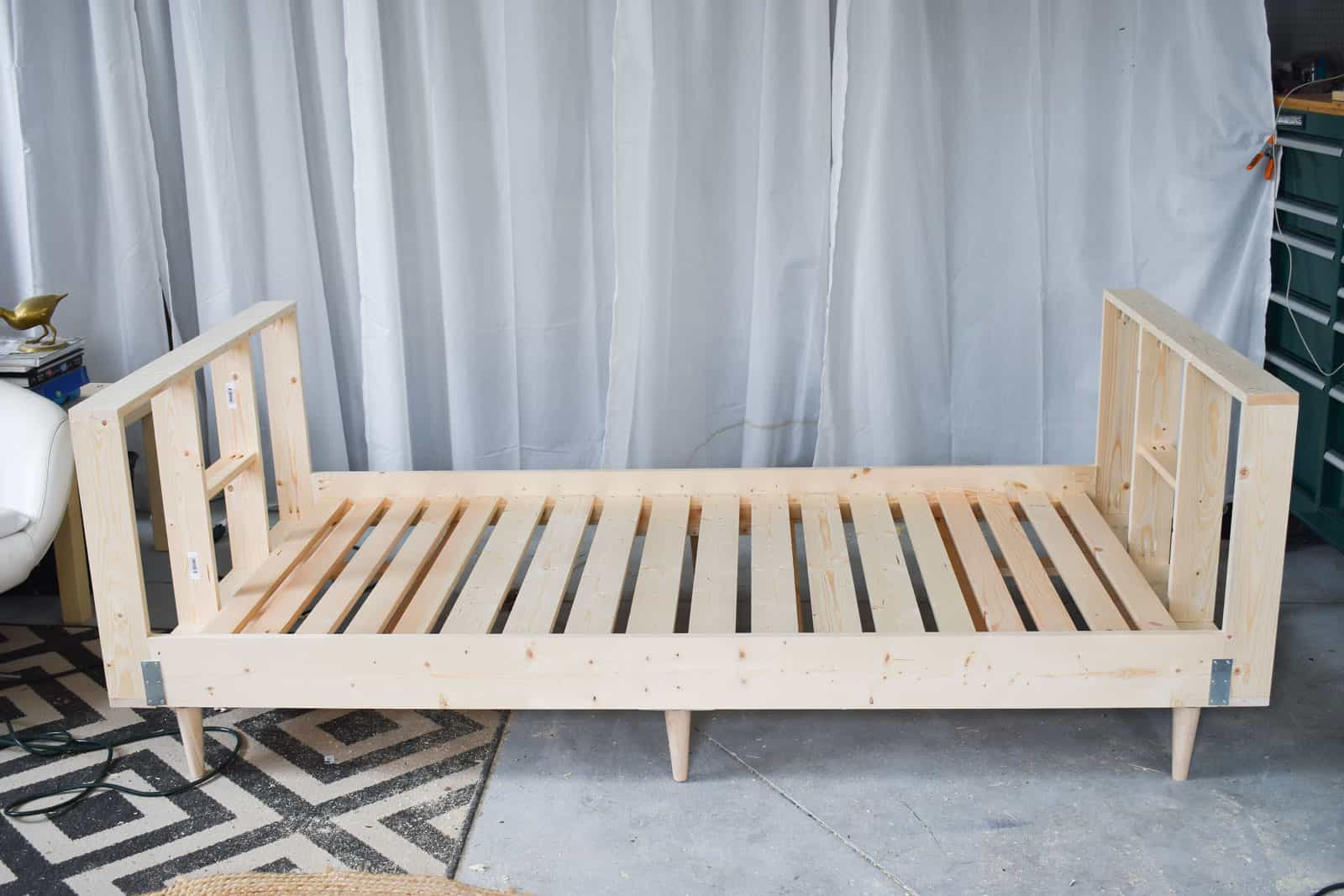 diy daybed sofas l shape sofa set with storage upholstered frame at charlotte s house finished