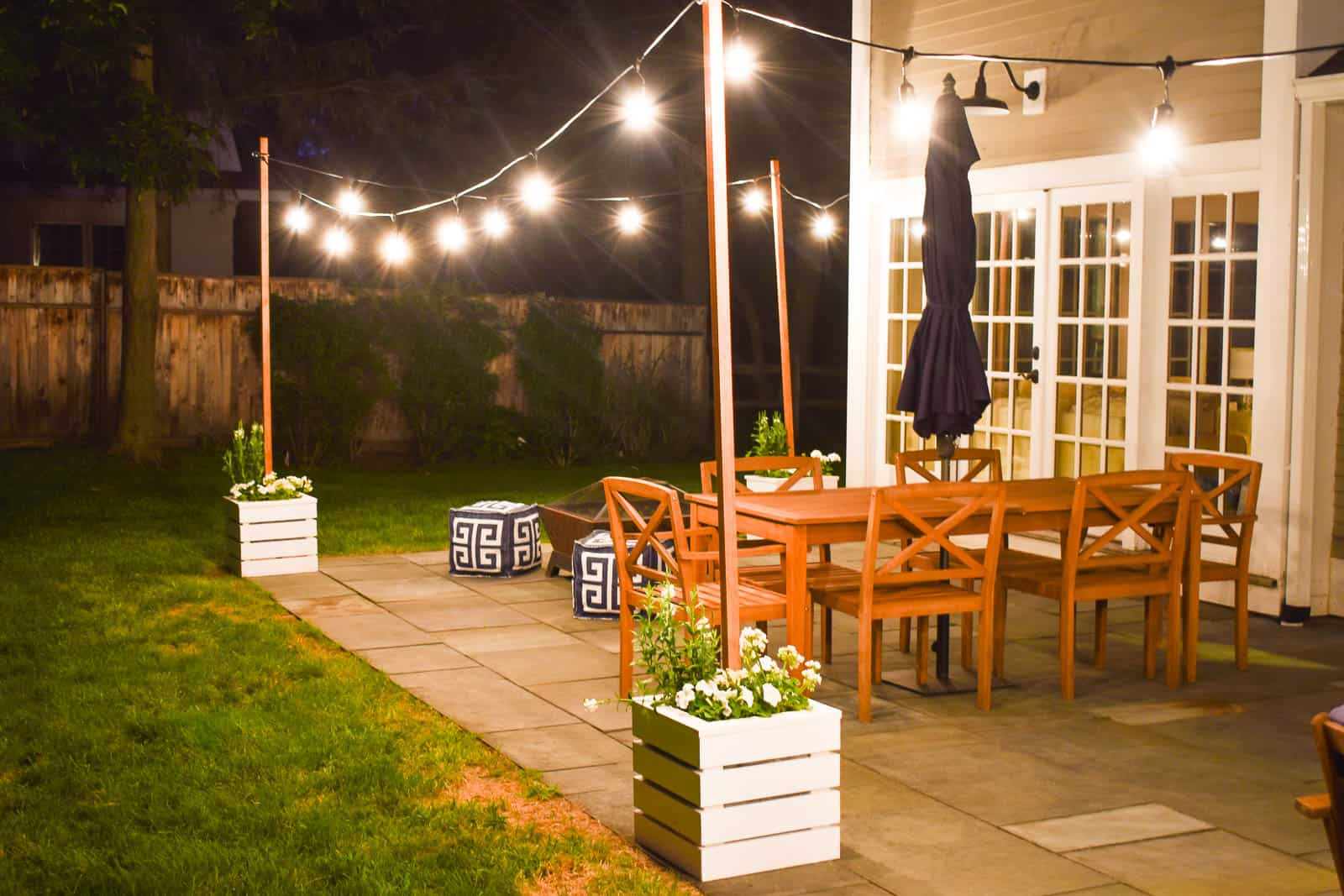 diy planter with pole for string lights