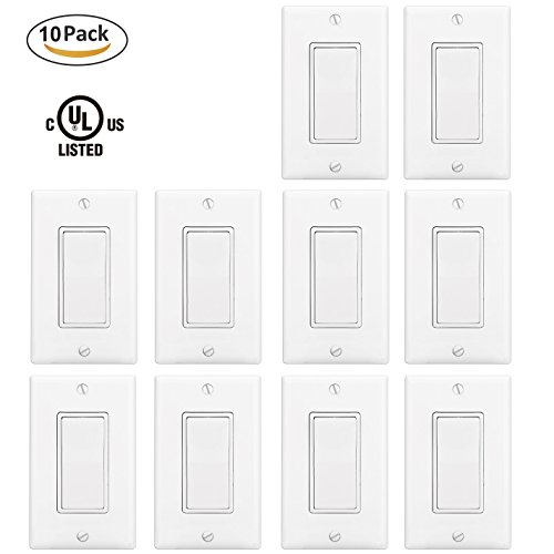 Maxxima 3 Way Decorative Wall Switch On/Off White 15A