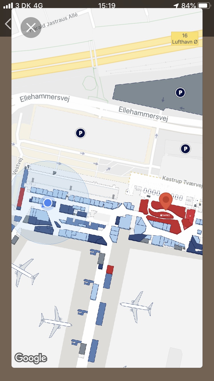 Mapa w aplikacji CPH Airport