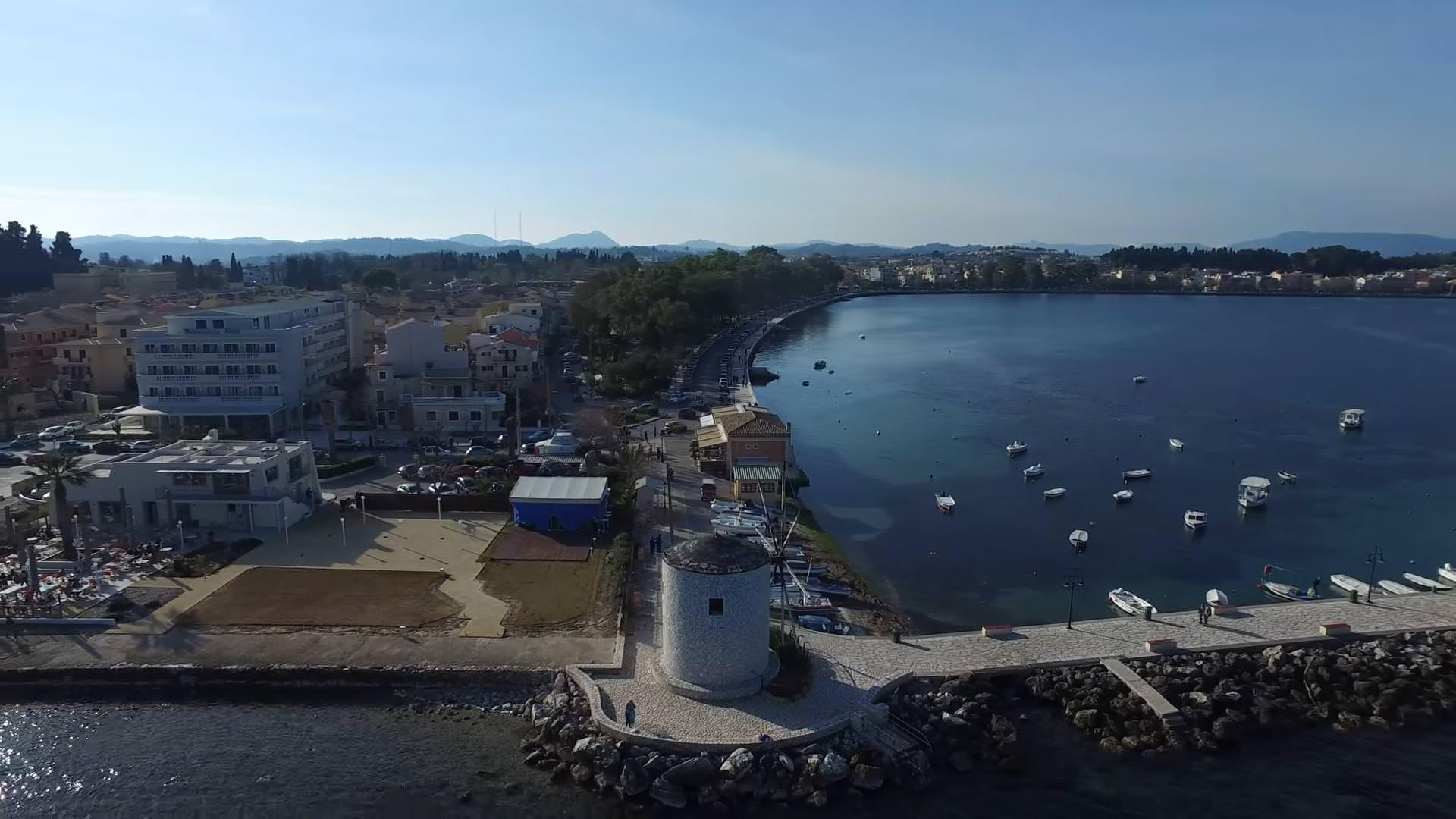 Flying over Anemomylos Garitsa in Corfu  atCorfucom