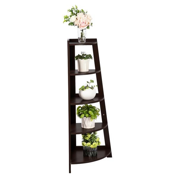 5 Tier Corner Shelf Stand Wood Display Storage Home Furniture Brown