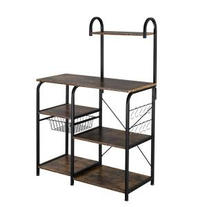 "Vintage Kitchen Baker's Rack Utility Storage Shelf 35.5"" Microwave Stand 4-Tier 3-Tier Shelf for Spice Rack Organizer Workstation with 10 Hooks"