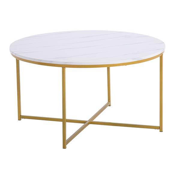 Marble Simple Round Coffee Table [90x90x48.5cm] White