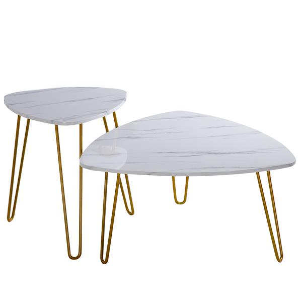 Marble Iron Feet Coffee Table Side 2 Sets [84x83x46cm] White