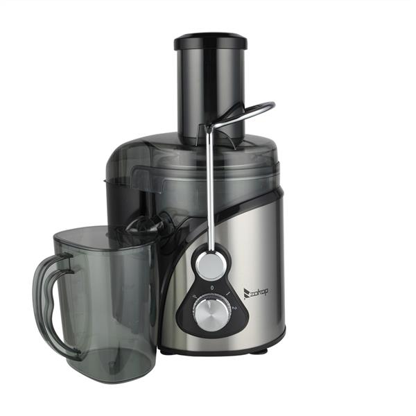 ZOKOP American standard ALW-J09 110V 800W 85MM Large Diameter 1000Ml Juice Cup 1500Ml Pomace Cup Third Gear Electric Juicer Stainless Steel Black