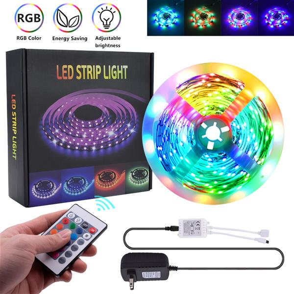 Plastic 150-LED SMD3528 24W RGB IR44 Light Strip Set with IR Remote Controller (White Lamp Plate)