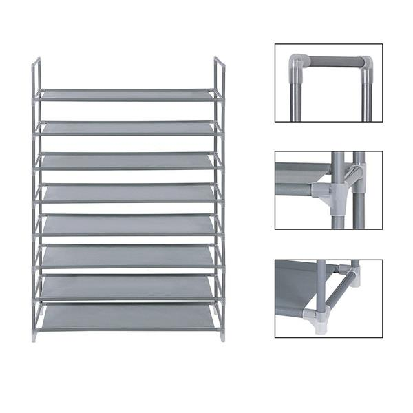 100cm Ultra Large Capacity 8 Layers Non-woven Fabrics & Steel Shoe Rack Gray