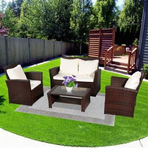 Oshion Outdoor Rattan Sofa Combination Four-piece Package-Brown (Combination Total 2 Boxes)