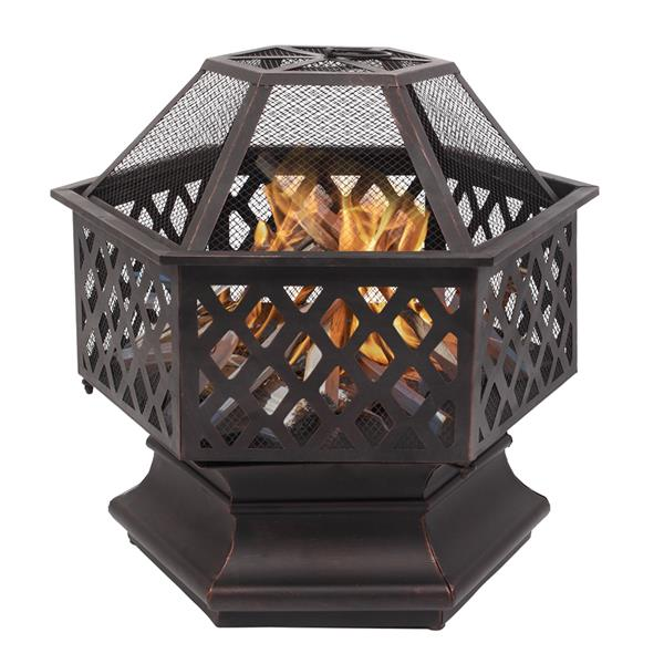 "22"" Hexagonal Shaped Iron Brazier Wood Burning Fire Pit Decoration for Backyard Poolside"