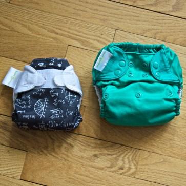L: BumGenius Newborn; R: BumGenius Freetime one-size