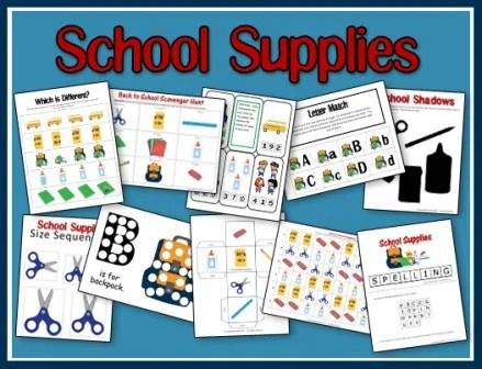 School Supplies Printables