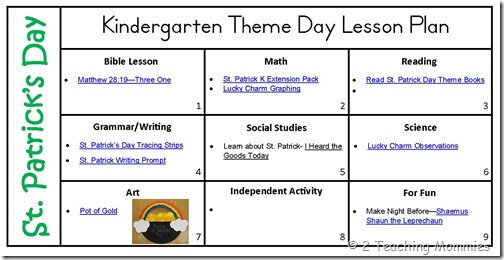 St. Patrick Day Theme Day Lesson Plan