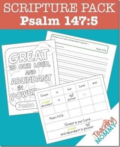 Psalm 147:5 Memory Verse Activities