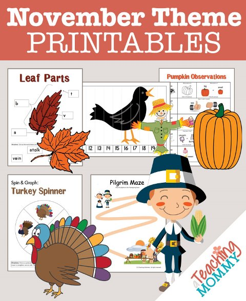 Don't miss this collection of FREE November Themed Printables. You'll find turkeys, Thanksgiving, scarecrows & more educational theme packs.