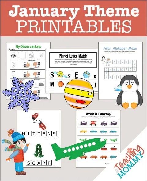 January Theme Printables