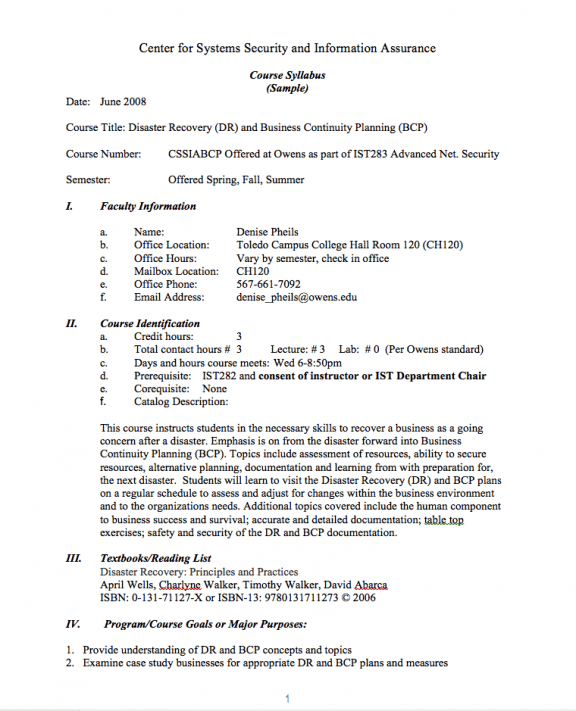 ATE Central Disaster Recovery Course Outline And Syllabus