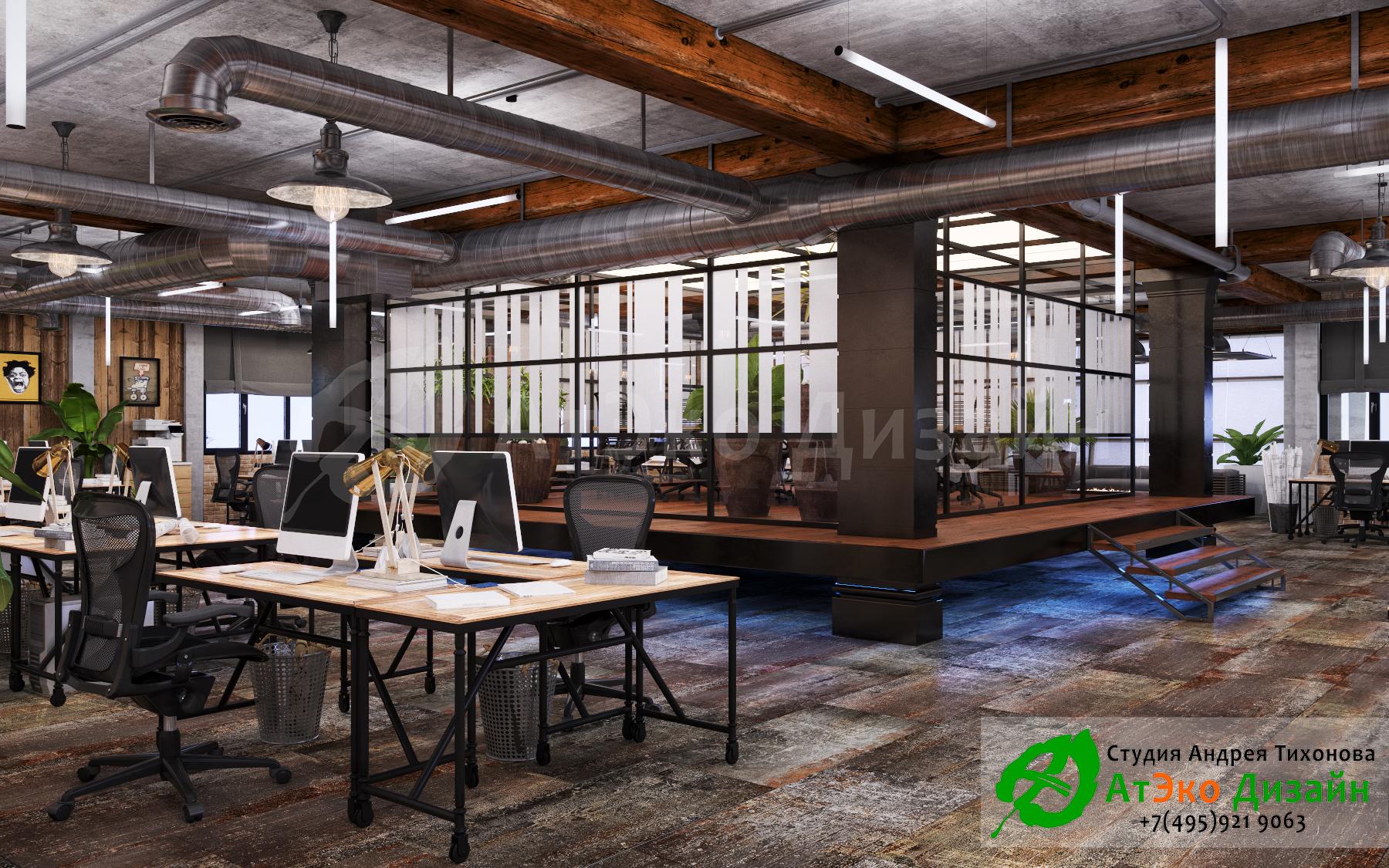 дизайн офиса лофт 3