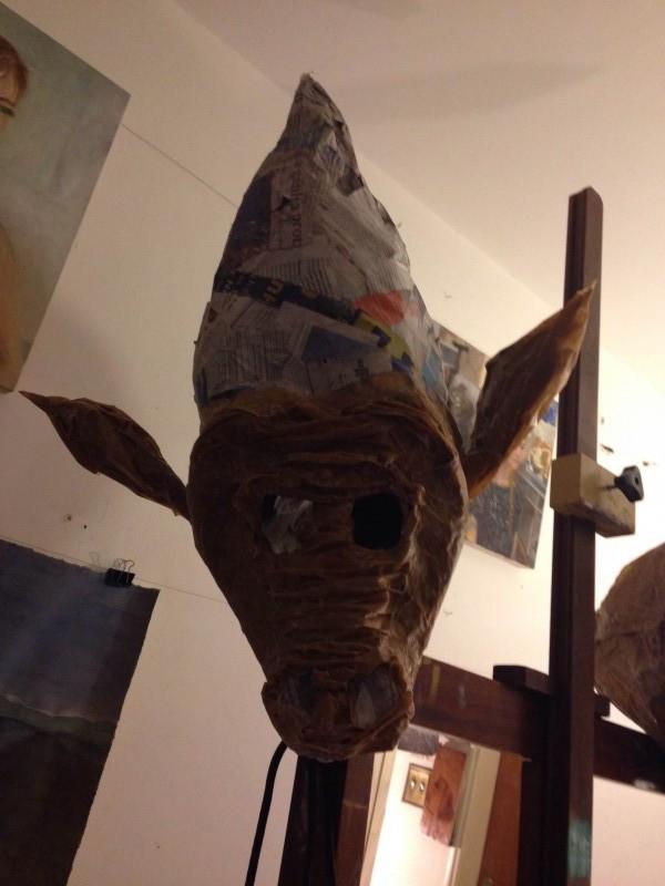 máscara da Nina secando