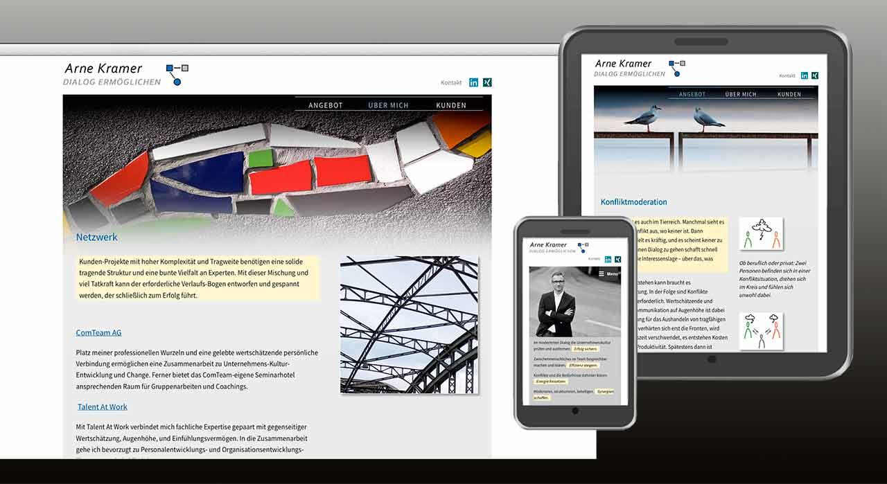 """Die Programmierung von www.arnekramer.de ist """"responsive"""" aufgebaut mit unterschiedlichem Design für PC, Tablet und Smartphone."""