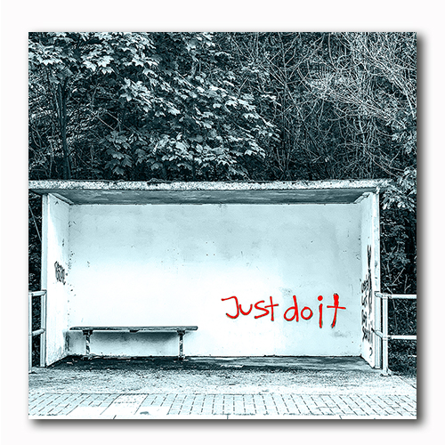 Just do it Graffiti Bushaltestelle