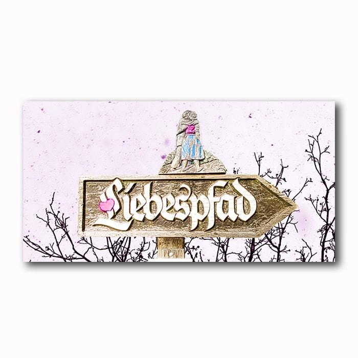 Liebespfad rose Bild auf Holz fontal