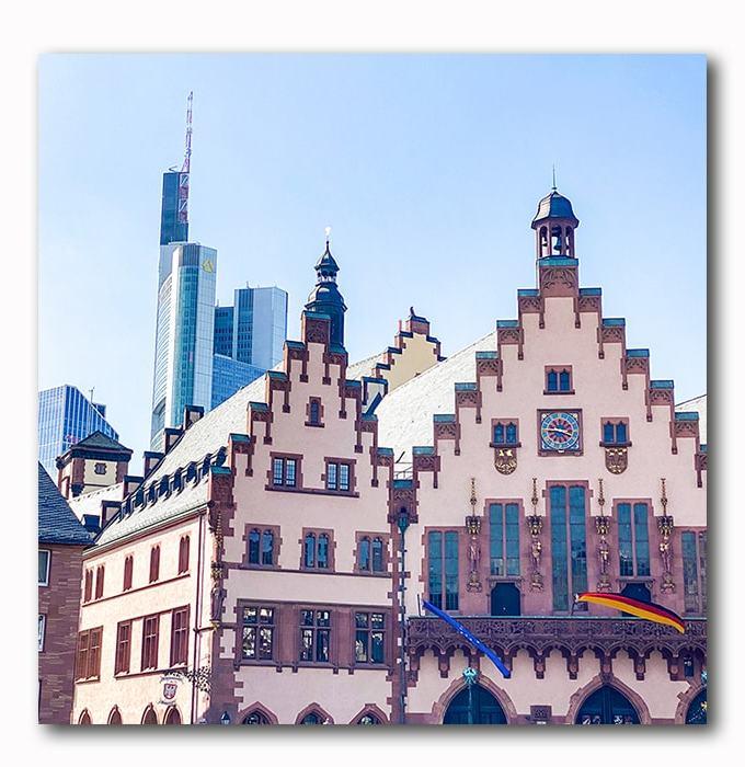 Frankfurt Römer Römerberg Altstadt Bild auf Holz