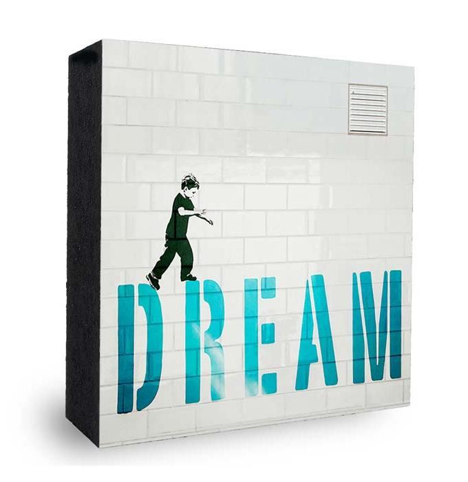 dream - Junge balanciert entlang seiner Traeume Graffiti
