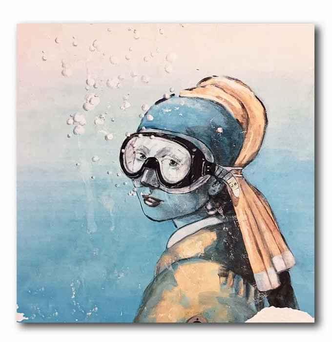 Maedchen mit Perlenohrringen -Taucherbrille Graffiti
