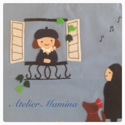 窓辺の女の子とシスターのアップリケ(アップリケブログ)
