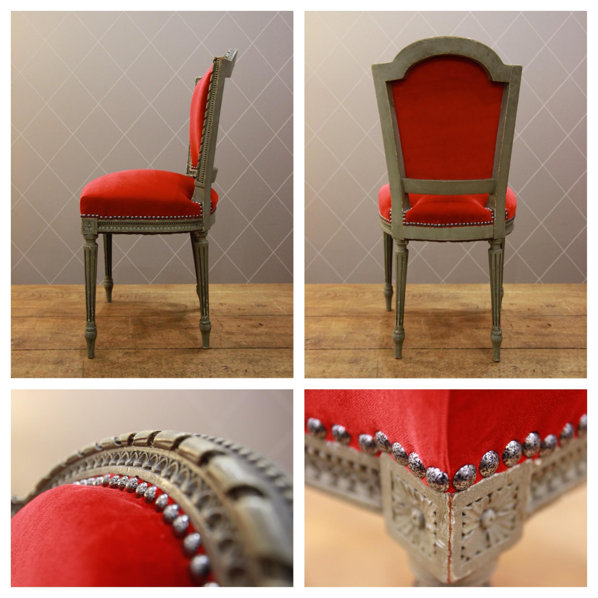 chaise louis xvi en velours rouge atelier md2atelier md2. Black Bedroom Furniture Sets. Home Design Ideas