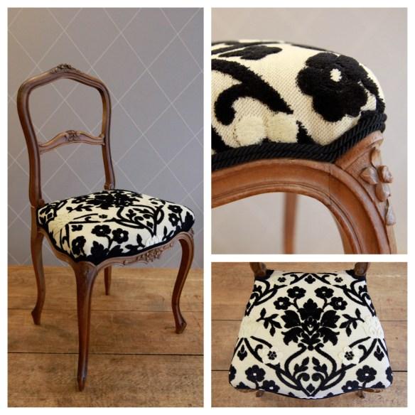 Chaise brodée noir et blanc - Atelier MD2