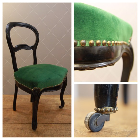 Chaise Napoléon III en velours vert finition galon clouté - Atelier MD2