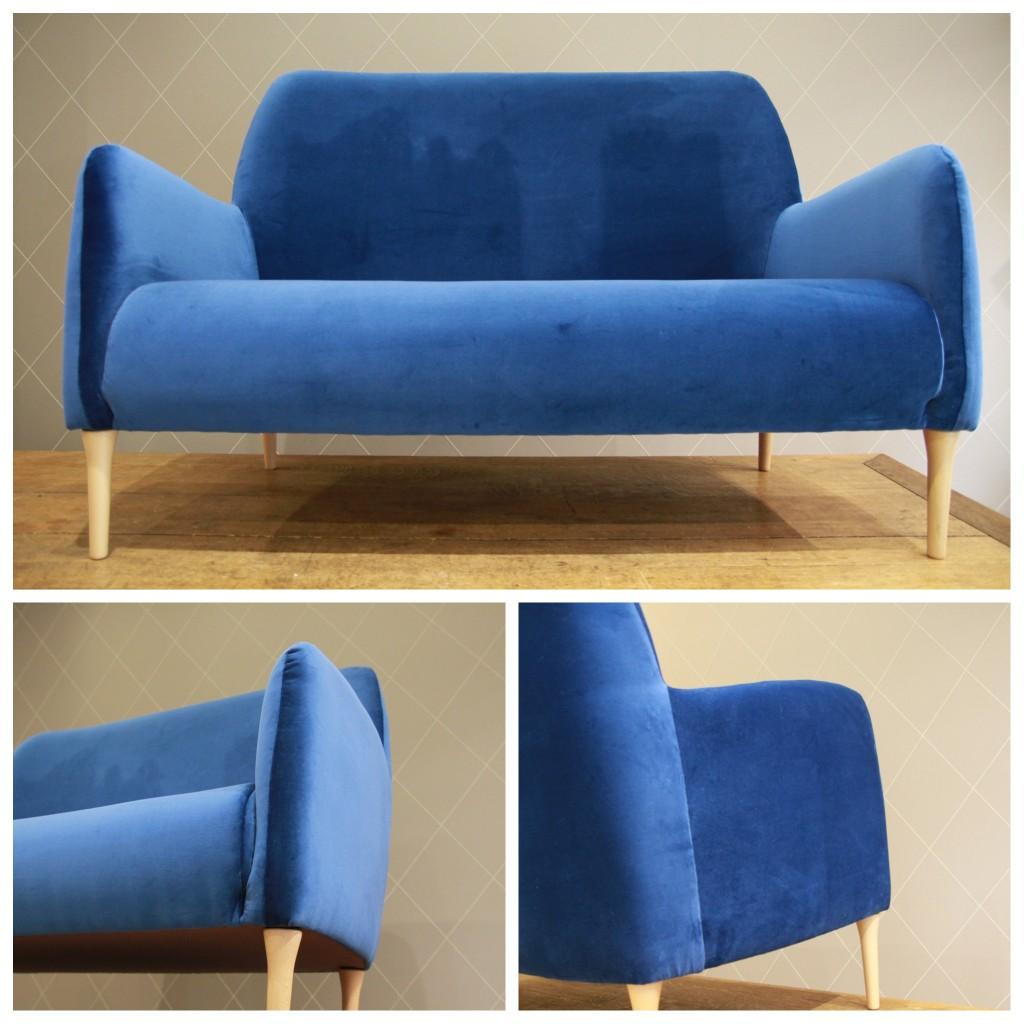 blue velvet chesterfield sofa 2 piece sectional chaise canape velours bleu