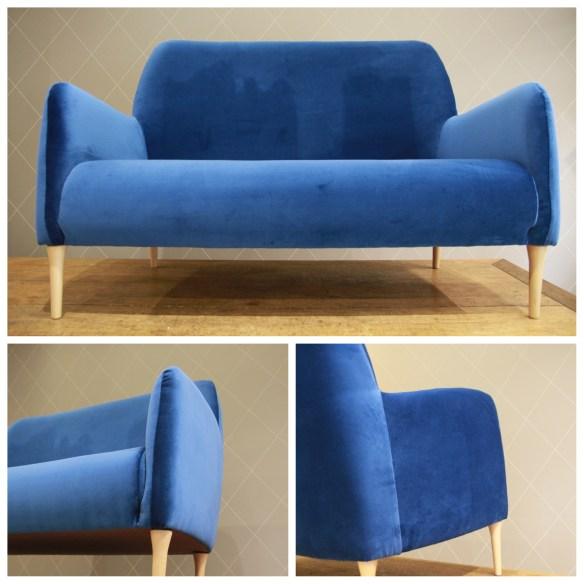 Canapé design en velours bleu - Atelier MD2