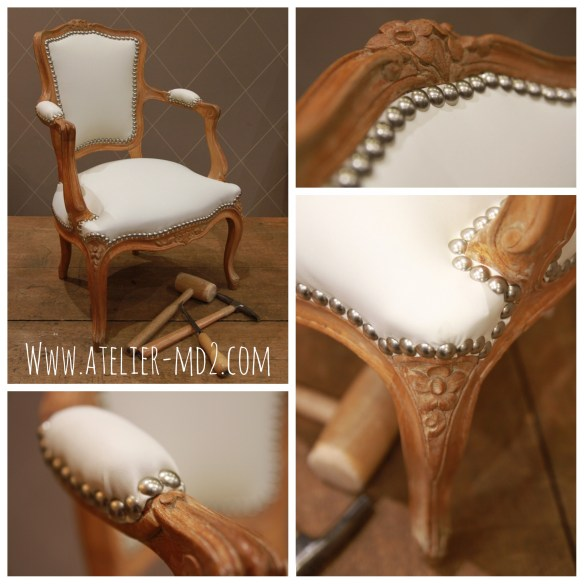 Fauteuil enfant style Louis XV : réfection mousse et simili cuir Kaston by Kravet