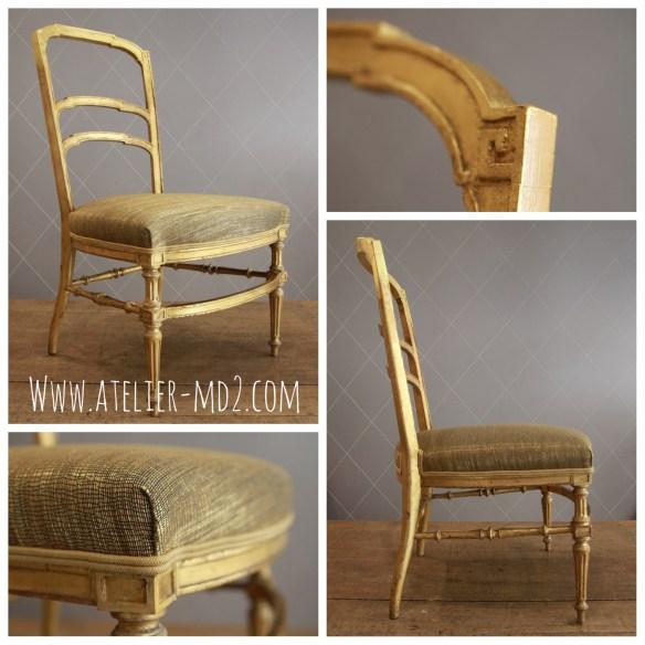 Total look pour cette charmante chaise en bois doré