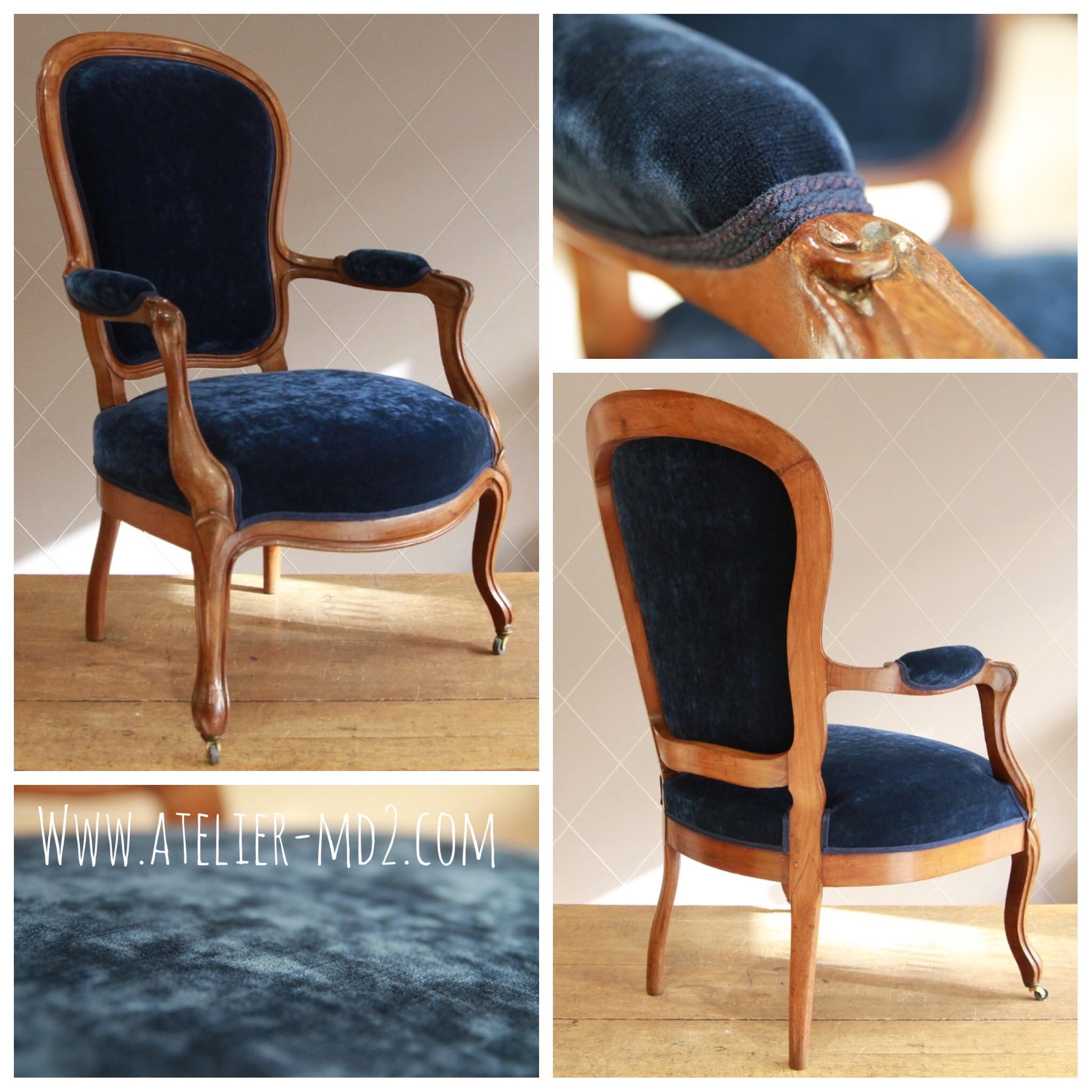 fauteuil louis philippe velours bleu