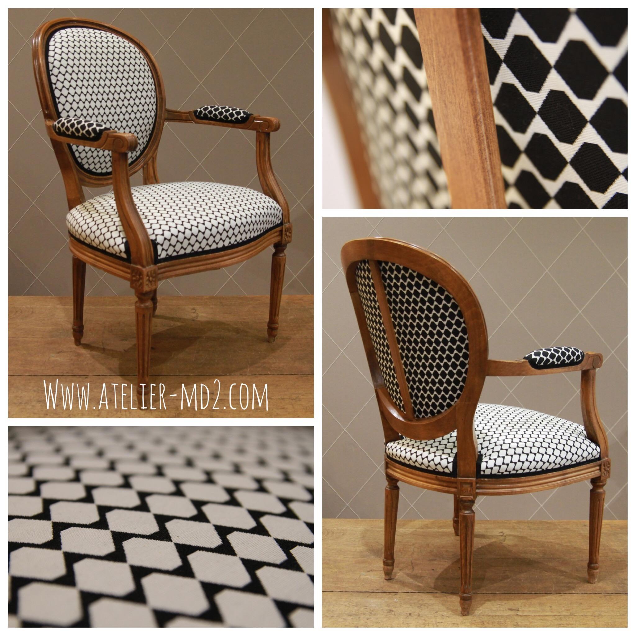 fauteuil noir et blanc style louis xvi