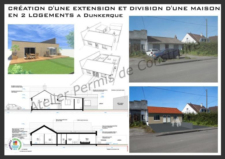 14.02 Extension de maison Dunkerque - Atelier permis de construire