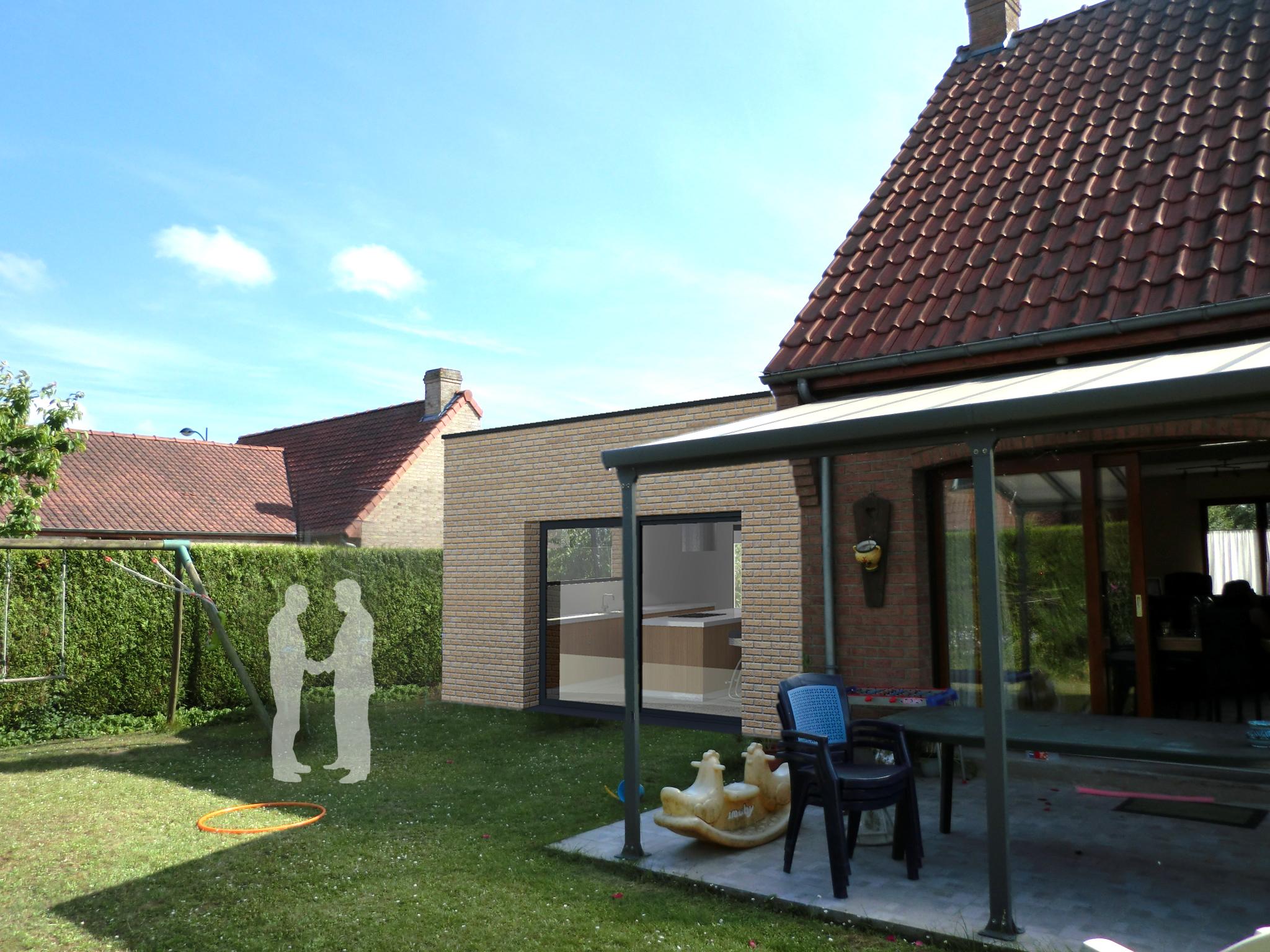 Extension d 39 une maison individuelle sequedin - Extension maison permis de construire ...