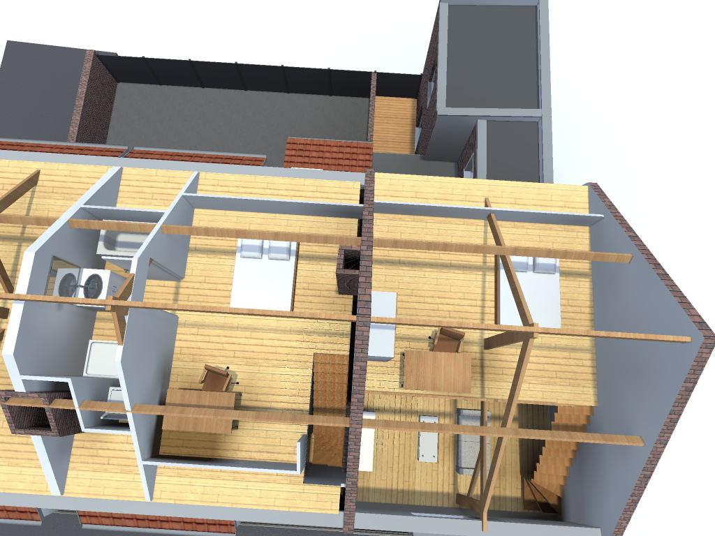 Division d 39 une maison en 3 appartements avec l 39 am nagement for Amenagement de combles permis de construire