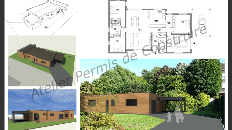Maison contemporaine for Permis de construction