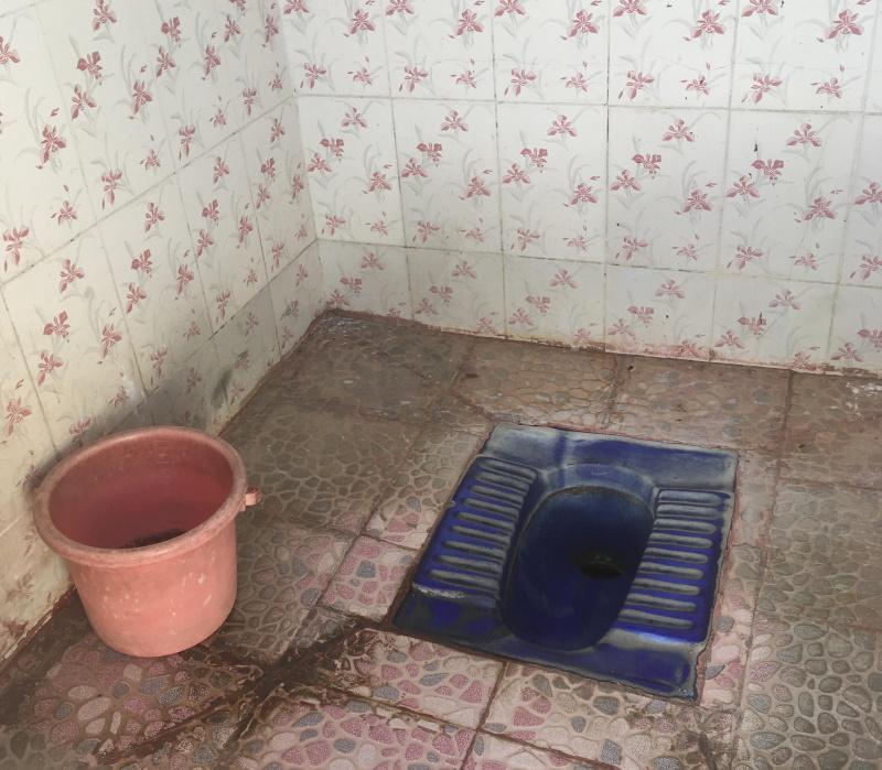 正真正銘インド式トイレ。便器と手桶のみ。