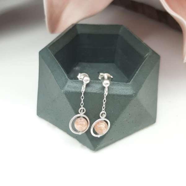 Boucles d'oreilles clous, Funambule, Rhodochrosite, roses1