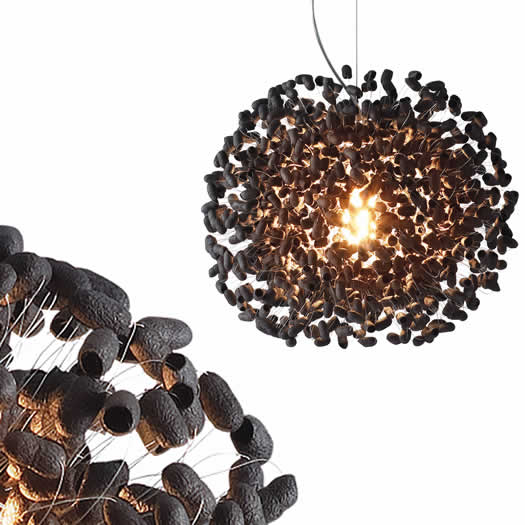 Moderne hanglampen van natuurlijk materiaal