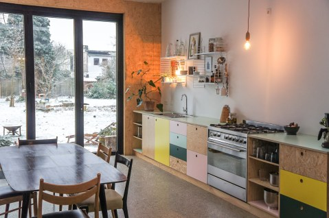 kitchen in plywood and osb with pastel tinted hpl laminate